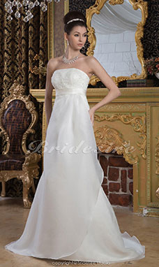 Sheath/Column Strapless Floor-length Sweep Train Sleeveless Satin Chiffon Wedding Dress