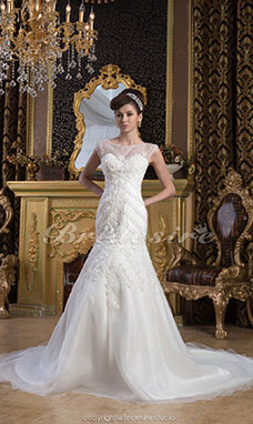 Trumpet/Mermaid Bateau Floor-length Sleeveless Chiffon Lace Wedding Dress