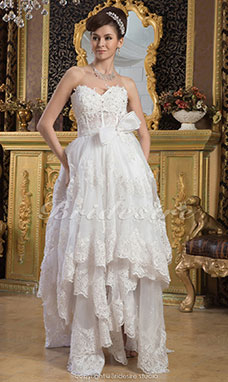 A-line Sweetheart Asymmetrical Sleeveless Lace Wedding Dress