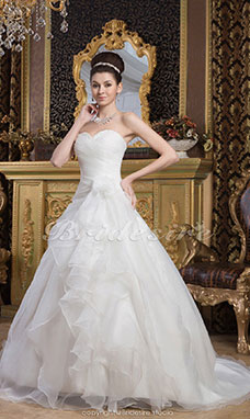 Princess Sweetheart Floor-length Sweep Train Sleeveless Chiffon Satin Wedding Dress