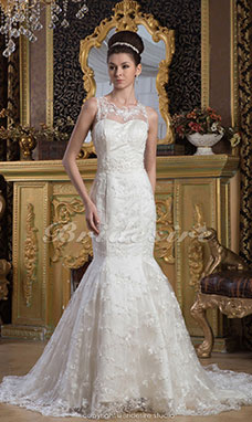 Trumpet/Mermaid Jewel Floor-length Sweep Train Sleeveless Satin Lace Wedding Dress