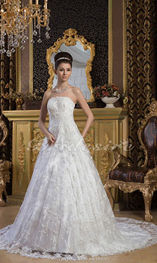 A-line Strapless Floor-length Court Train Sleeveless Satin Lace Wedding Dress