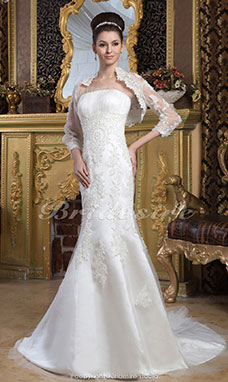 Trumpet/Mermaid Strapless Floor-length Sweep Train 3/4 Length Sleeve Satin Lace Wedding Dress