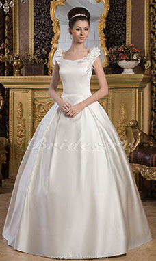 Princess Square Floor-length Short Sleeve Satin Wedding Dress