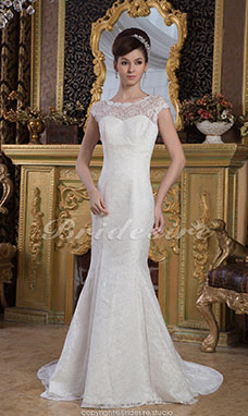 Trumpet/Mermaid Jewel Floor-length Sweep Train Short Sleeve Satin Lace Wedding Dress