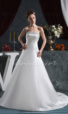A-line Strapless Floor-length Chapel Train Sleeveless Satin Wedding Dress