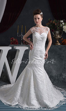Trumpet/Mermaid Bateau Court Train Sleeveless Satin Lace Wedding Dress