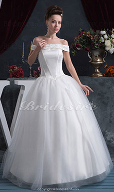 Ball Gown Off-the-shoulder Floor-length Sleeveless Satin Organza Wedding Dress