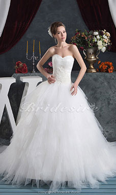 Ball Gown Sweetheart Floor-length Chapel Train Sleeveless Chiffon Wedding Dress