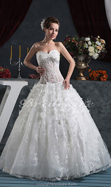 Princess Sweetheart Floor-length Sleeveless Lace Chiffon Wedding Dress