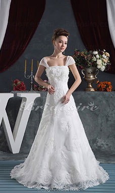 A-line Strapless Floor-length Sweep Train Short Sleeve Satin Lace Wedding Dress
