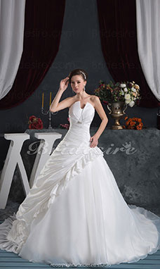 Princess Ball Gown Strapless Floor-length Court Train Sleeveless Satin Wedding Dress