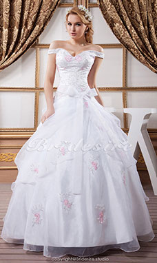 Princess Off-the-shoulder Floor-length Sleeveless Satin Organza Wedding Dress