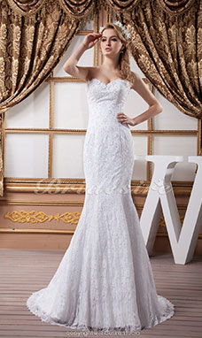 Trumpet/Mermaid Sweetheart Floor-length Sweep Train Sleeveless Satin Lace Wedding Dress