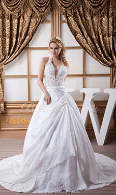 A-line Halter Floor-length Court Train Sleeveless Satin Wedding Dress