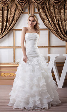 Trumpet/Mermaid Strapless Floor-length Sleeveless Satin Organza Wedding Dress
