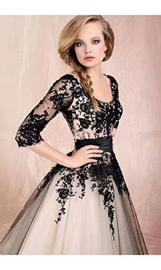 A-line Scoop Half Sleeve Tulle Dress