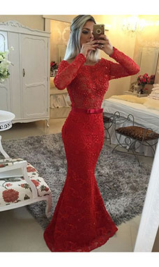 Trumpet/Mermaid Scoop Long Sleeve Lace Dress