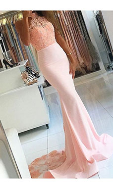Trumpet/Mermaid High Neck Sleeveless Satin Dress