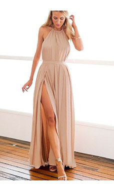 A-line Halter Sleeveless Chiffon Dress