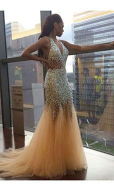 Trumpet/Mermaid Halter Sleeveless Tulle Dress