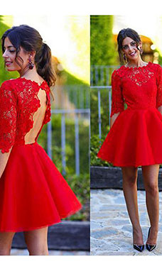 A-line Scoop Half Sleeve Lace Dress