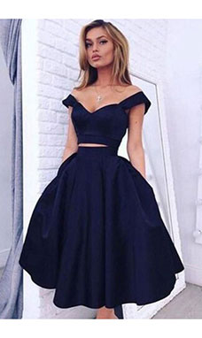A-line Off-the-shoulder Sleeveless Taffeta Dress