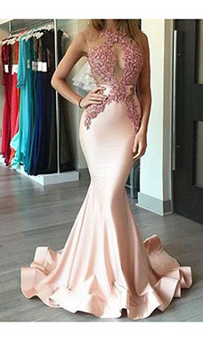Trumpet/Mermaid Halter Sleeveless Stretch Satin Dress
