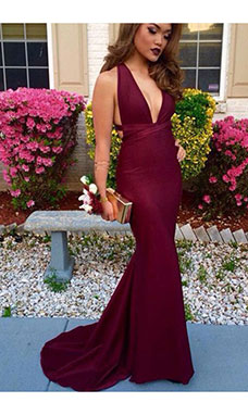 Trumpet/Mermaid V-neck Sleeveless Stretch Satin Dress
