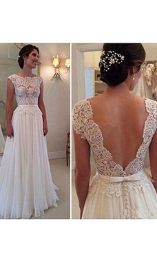 A-line Scoop Sleeveless Chiffon Wedding Dress