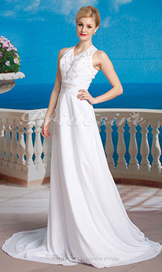 Sheath/Column Chiffon Wedding Dress with Button Back and Beaded Embroidered