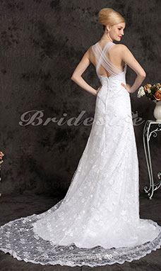 Mermaid/ Trumpet Square Chapel Train Lace Wedding Dress