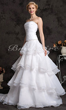 A-line Organza Chapel Train Strapless Wedding Dress