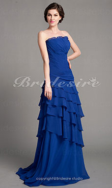A-line Chiffon Sweep Brush Train Strapless Mother Of The Bride Dress