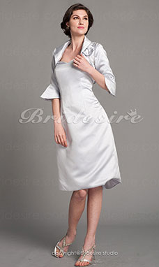 Sheath/Column Half Sleeve Sweetheart Satin Knee-length Mother of the Bride Dress With A Wrap