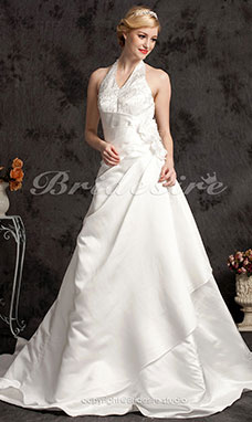 A-Line Satin Halter Plus Size Court Train Wedding Dress
