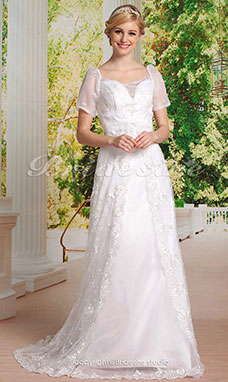 A-line Lace Sweep/ Brush TrainOff-the-shoulder Wedding Dress