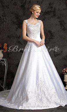 A-line Satin Chapel Train V-neck Wedding Gown