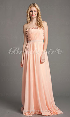 A-line Sweep Brush Train Strapless Luxurious Chiffon And Satin Chiffon Dresses