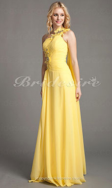 Sheath/Column Chiffon Floor-length One Shoulder Evening Dress