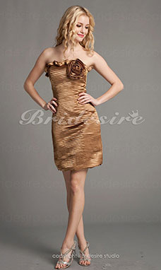 Sheath/Column Sexy Strapless Bateau Taffeta Short/Mini Cocktail Dresses