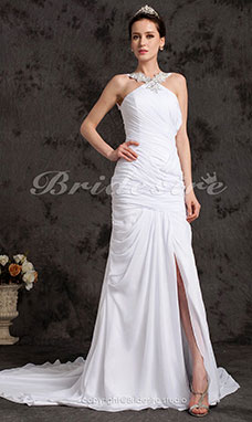 A-line Chiffon Chapel Train V-neck Wedding Dress