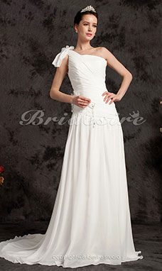 A-line One Shoulder Princess Chiffon And Stretch Satin Court Train Wedding Dress