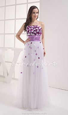 Sheath/Column Strapless Floor-length Sleeveless Satin  Dress