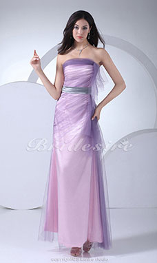 Sheath/Column Strapless Floor-length Sleeveless Tulle Satin Dress