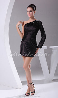 Sheath/Column One Shoulder Short/Mini Long Sleeve Stretch Satin Dress