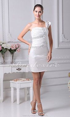 Sheath/Column One Shoulder Short/Mini Sleeveless Stretch Satin Dress