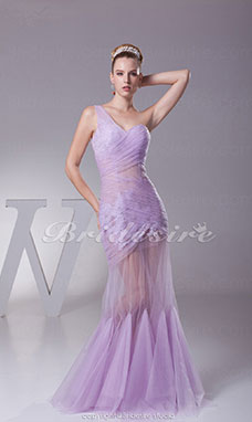 Trumpet/Mermaid One Shoulder Floor-length Sleeveless Organza Dress