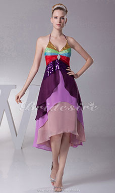 A-line Halter Knee-length Sleeveless Sequined Chiffon Dress