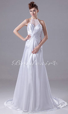 A-line Halter Court Train Sleeveless Tulle Stretch Satin Wedding Dress